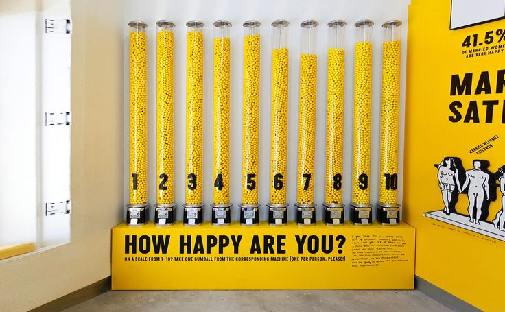 The Happy Show _from Sagmeister & Walsch. Interactive experience (voting) also adds nice visual. The bright yellow communicates happiness.