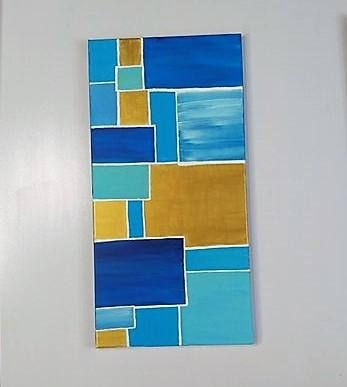 Blue and Gold Abstract Painting on Canvas Original hand