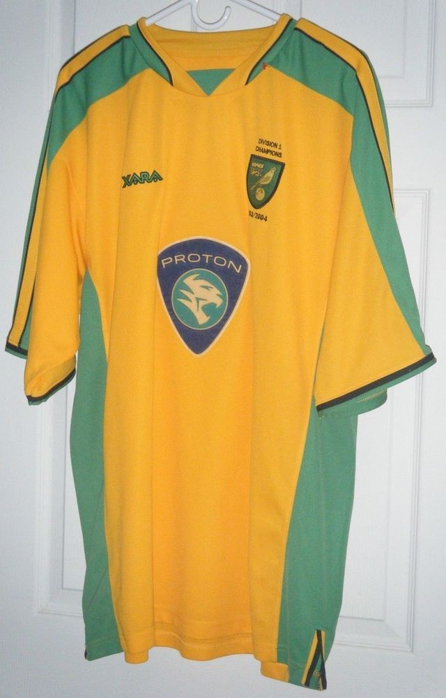 484e20047 NORWICH CITY FC 2003~2004 ORIGINAL FOOTBALL HOME SHIRT JERSEY XARA Used 2XL   XARA  NorwichCity
