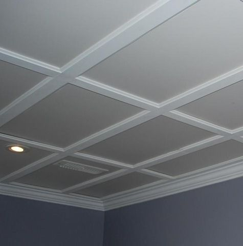 Dropped ceiling disguised as a coffered ceiling FOR THE BASEMENT