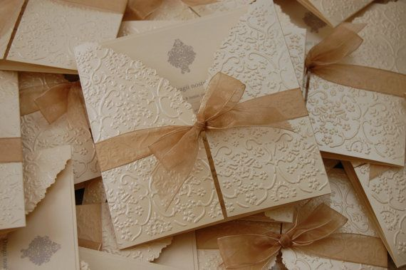 Embossed Invitation by handmadebymaddy on Etsy