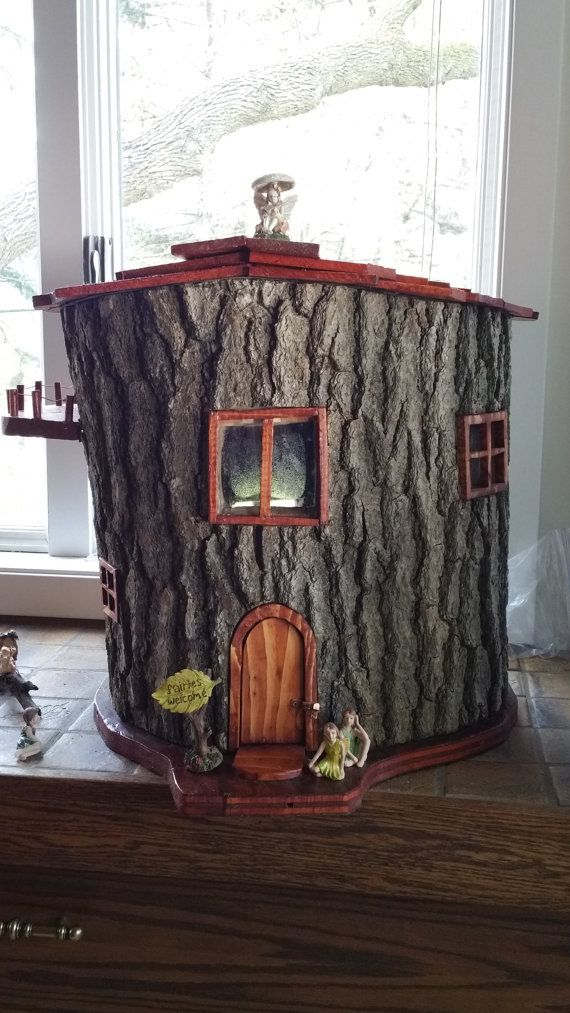 Fairy house hand made from hollow log by for Log craft ideas