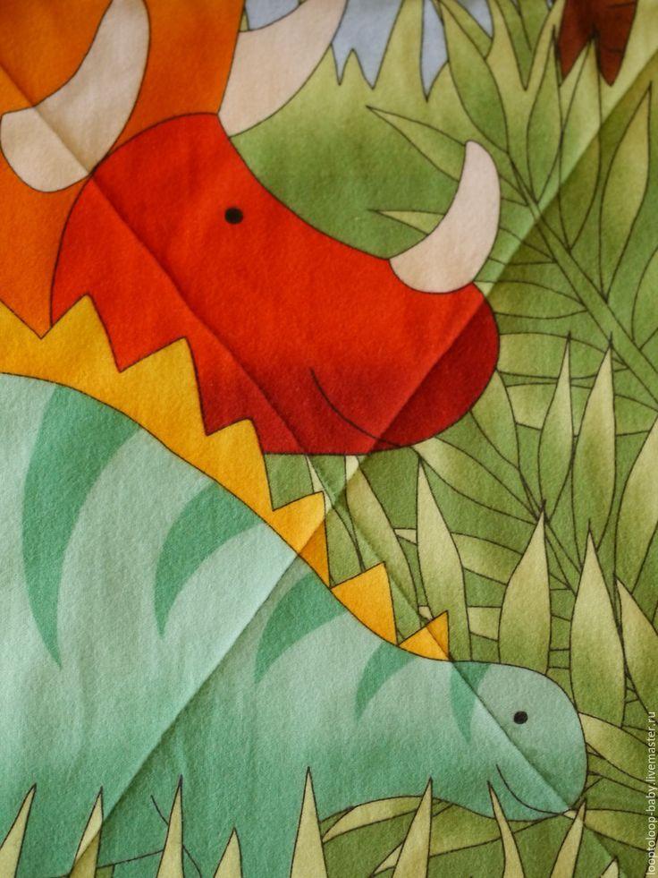 Купить Детское одеяло на подкладе(двустороннее стеганое одеяло) с динозаврами - комбинированный, динозавры, оранжевый, коричневый, одеяло