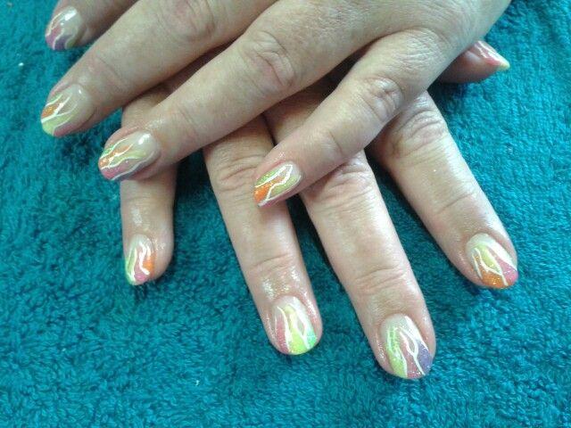 Rainbow acrylic nails