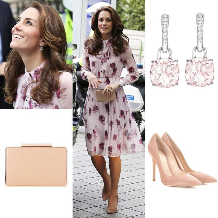 Despite of the chilly weather, Kate chose to wore a dress for summer, The $498 Encore Rose Chiffon Dress by Kate Spade New York. She paired it with her $675 Gianvito Rossi Praline suede pumps, L.K. Bennett Nina clutch, and £3400 Kiki McDonough morganite and diamond drop earrings.