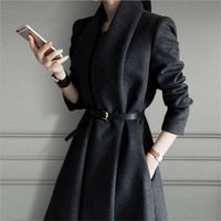 High Quality Women Solid Color Blends Spring And Autumn Female Coat Elegant…