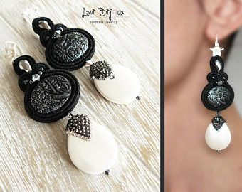 black Soutache Earrings, Handmade Earrings, Hand Embroidered, Soutache Jewelry, Handmade from Italy, OOAK