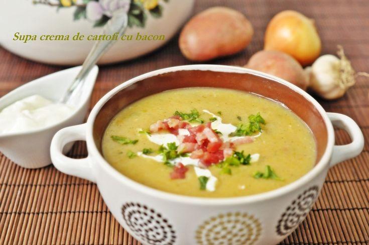 Reteta Supă cremă de cartofi cu bacon din categoriile Supe de carne, Supe de legume