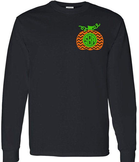 Chevron Monogram Pumpkin Adult Long Sleeve TShirt by VinylDezignz