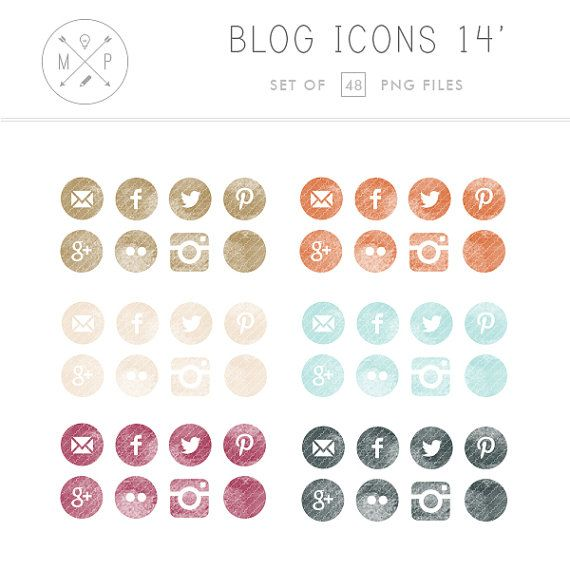 Social Media Buttons - Watercolor Social Media Blog Icons - Hand Drawn Blog Icons - Website Icons - personal and commercial use (14)