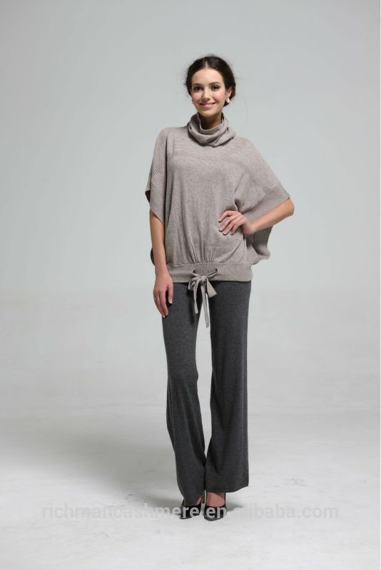 Taupe cuello alto manga del batwing de las mujeres short manga poncho-Suéter-Identificación del producto:1873397157-spanish.alibaba.com