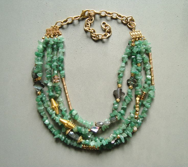 V I R E N T I — Multi strand Aventurine necklace with hand faceted Labrodorite, gold tone beads and grey shell beads. Lobster clasp. 22 inches long. — $85.00
