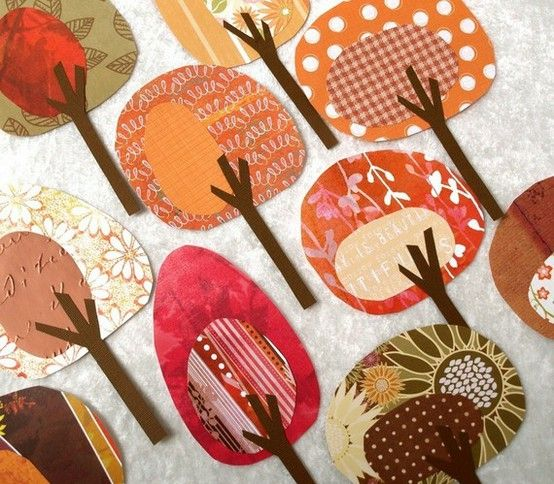 Cute tree papercrafts.  I can see these on a fall bulletin board or two.
