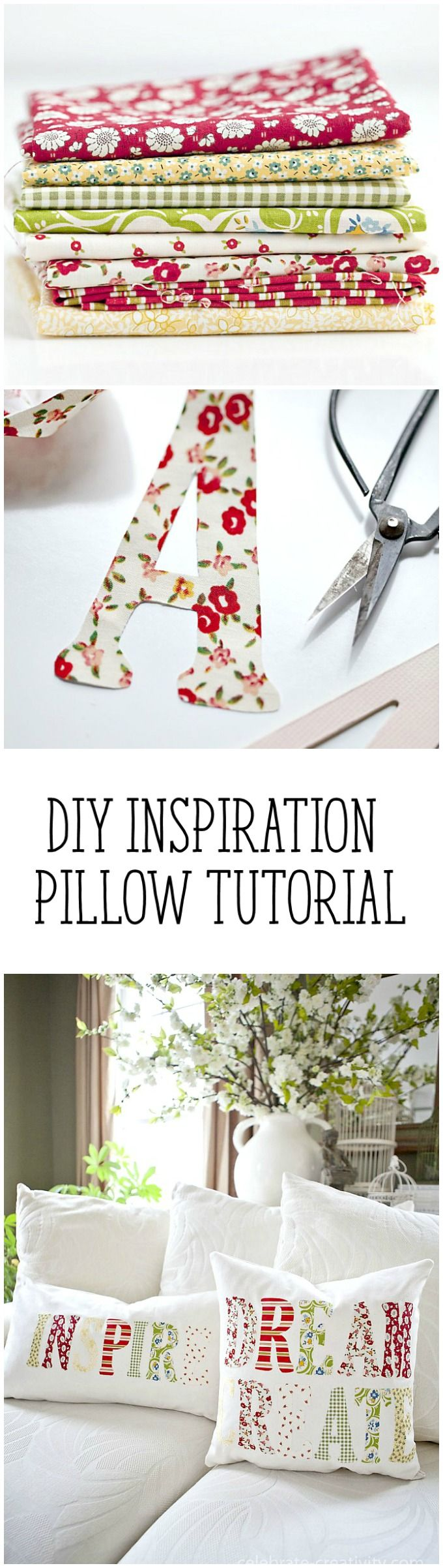 This DIY pillow is the perfect way to use up all of those fat quarters in my stash!