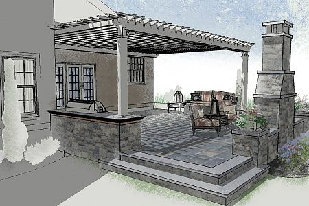 Raised patio and pergola