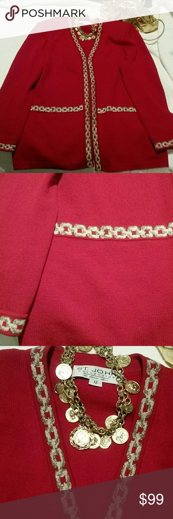 Authentic St. John knit womans clothing Red Jacket Beautiful Vintage St. John womans Jacket gorgeous with gold rope like simmering trim. Sz. 12 awesome vintage condition zips up in front.  Sleeves 25 in. back 16 1/2, armpit 22 in. , length 29 in. If you have any questions please contact me. 1 issue the zipper charm is missing,  there for you can be creative and put a charm of your choice on this St. John Knit Sweater. Where it with jeans or dress it up or down!  Thanks Happy Poshing! St…