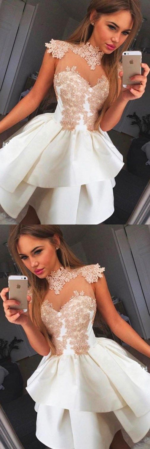 High Neck Cap Sleeve Ball Gown White Satin Homecoming Dress