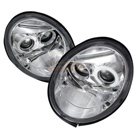 Spec-D LHP-BEE98-TM | 2001 Volkswagen Beetle Chrome/Clear Halo LED Projector Headlights for Hatchback/Fastback