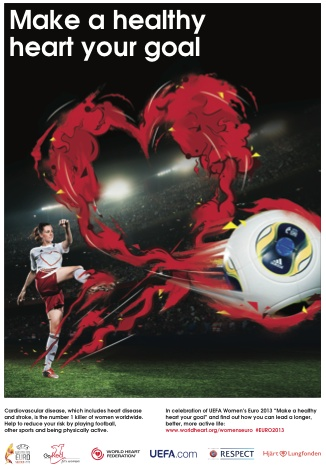 """""""Make a healthy heart your goal"""" with the World Heart Federation and UEFA Women's Euro 2013"""