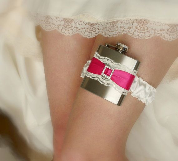 Ivory & Fuchsia Pink FLASK GARTER with by MoonshineBelle on Etsy
