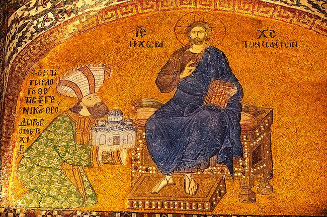 The 11th century Roman Byzantine Church of the Holy Saviour in Chora and its mosaic of Theodore Metochites presenting a model of the Chora church to Christ (panel I-48). Endowed between 1315-1321 by the powerful Byzantine statesman and humanist Theodore | Photos Gallery