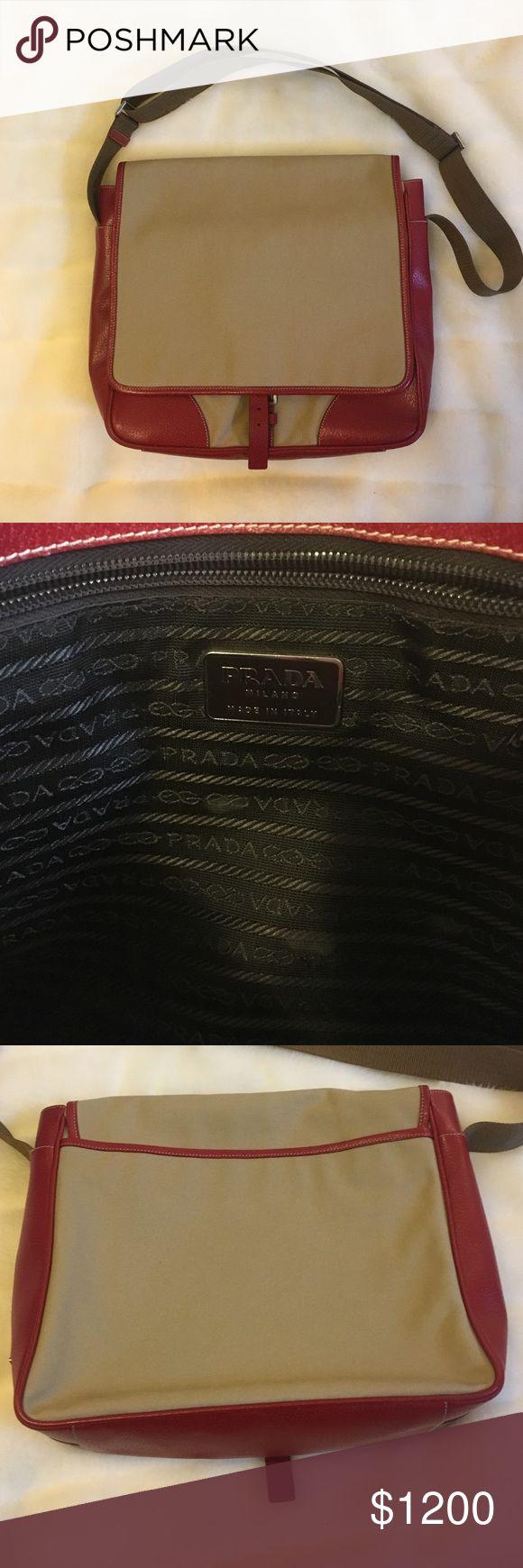 Authentic Prada messenger bag Authentic Prada messenger bag, red pig skin leather accents & khaki canvas. Prada Bags Crossbody Bags