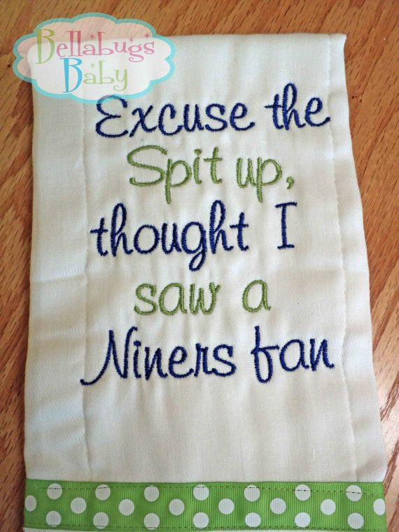 Excuse the Spit up - Seattle Seahawks or your favorite team Monogrammed Baby Burp Cloth on Etsy, $13.99