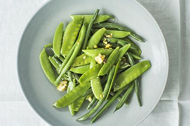 Steamed greens with pistachio nut and kaffir lime butter