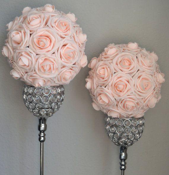 ROZE BLUSH kussen bal. Bruiloft middelpunt. Roze door KimeeKouture