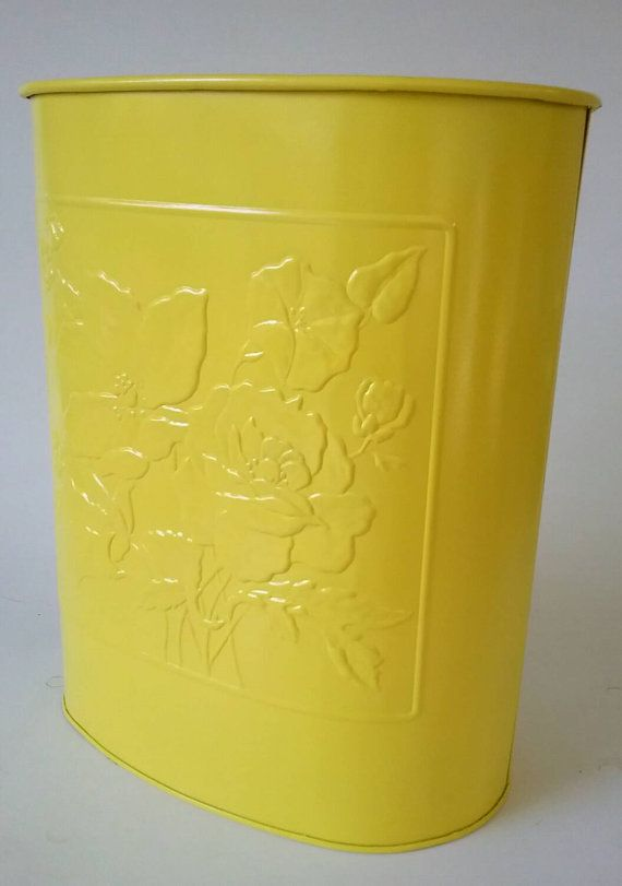 yellow metal trash can waste receptacle by makingmidcenturymod
