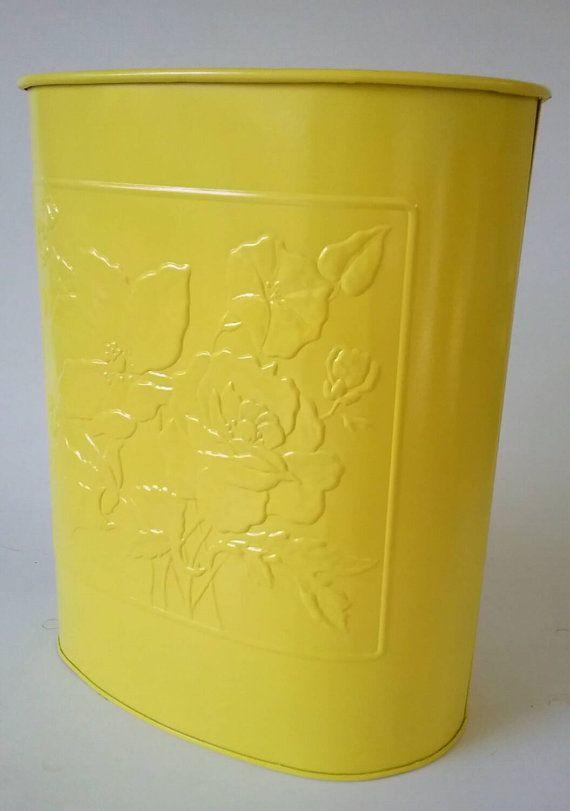 Yellow Metal Trash Can Waste Receptacle Steel Garbage Bin MCM Mid Century  Modern Vintage Basket Flower Bathroom Office Decor Baby Nursery
