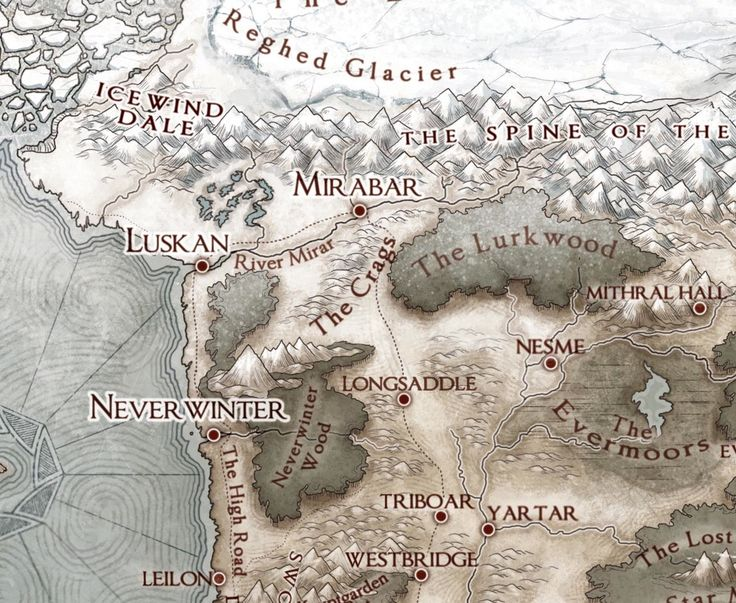 Image of The Sword Coast: A campaign map of northwest Faerun