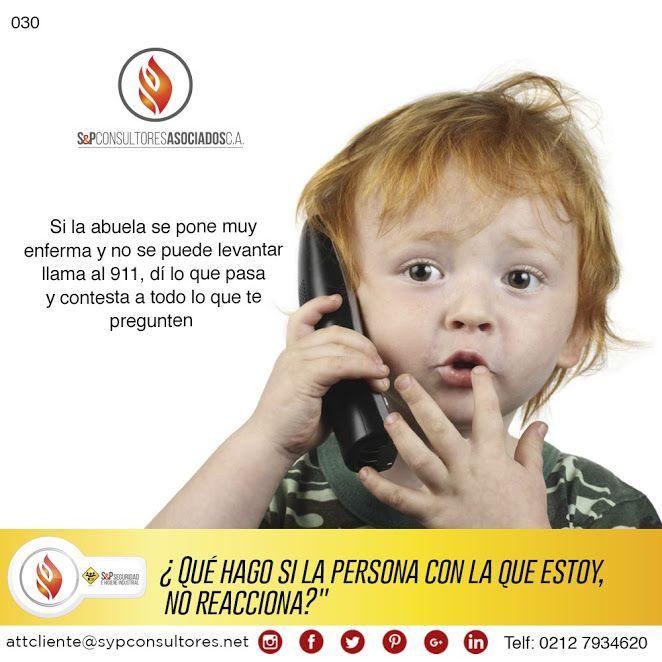 Asegúrate de enseñar a los niños, lo que deben hacer en caso de que ocurra una emergencia: dejarles la información escrita cerca del teléfono, es una buena idea para niños que sepan leer. Si son niños más pequeños, es necesario practicar con ellos, las acciones que deben realizar, en caso de que el adulto que los acompaña se encuentre indispuesto, por ser el accidentado, o porque los nervios no lo dejen actuar correctamente.  http://www.sypconsultores.net/ #SyP Cada vez más cerca de t