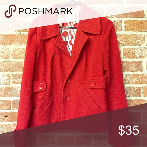 Short red pea coat Originally from Nordstroms well loved but plenty of life left Tulle Jackets & Coats Pea Coats