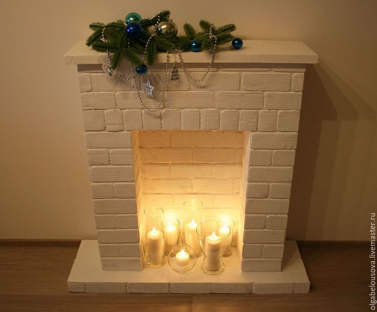 Новогодний фальш-камин с имитацией кирпичной кладки - Ярмарка Мастеров - ручная работа, handmade