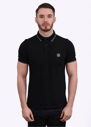 Stone Island Logo Polo Shirt - Black