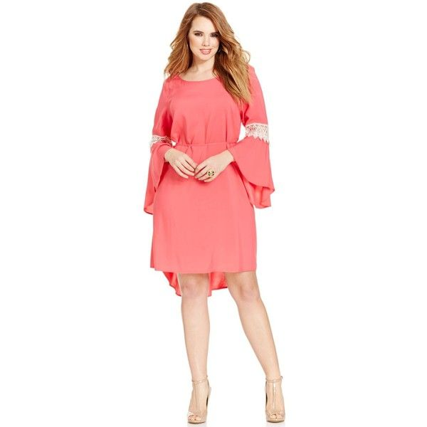 Love Squared Trendy Plus Size Bell-Sleeve Crochet-Trim Dress ($59) ❤ liked on Polyvore featuring plus size women's fashion, plus size clothing, plus size dresses, coral, bell sleeve dress, plus size party dresses, plus size bell sleeve dress, women's plus size dresses and coral party dress