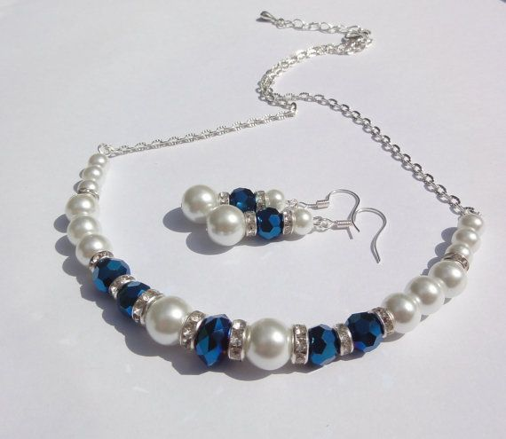 Bridesmaid Necklace &  Earrings set  by Stunning Gems Jewelry