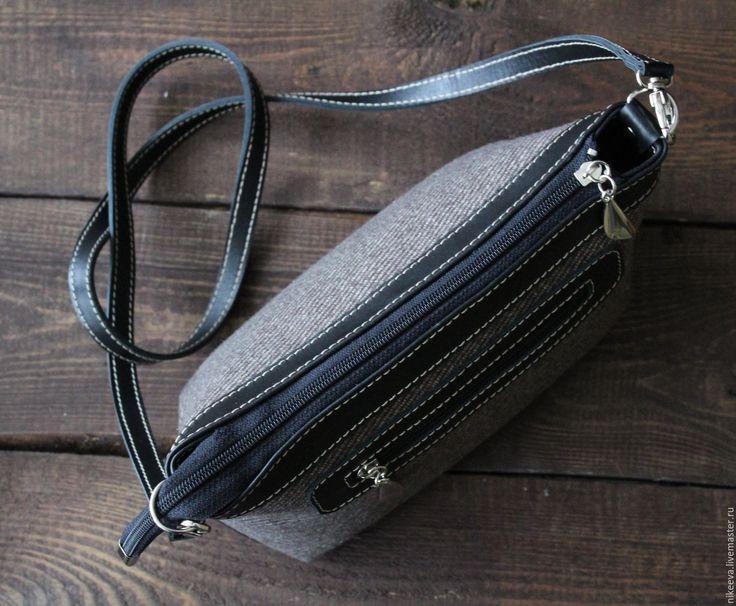 """Купить Сумка """"VINTINI"""" - комбинированный, в полоску, шерстяная сумка, шерсть и кожа, зимняя сумка, зима"""