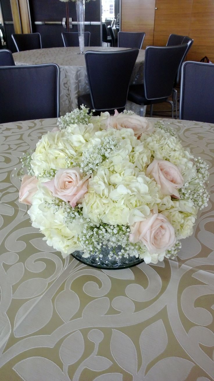 Pretty pink roses with white hydrangea and baby's breath. I like this combination for the bridesmaids bouquets