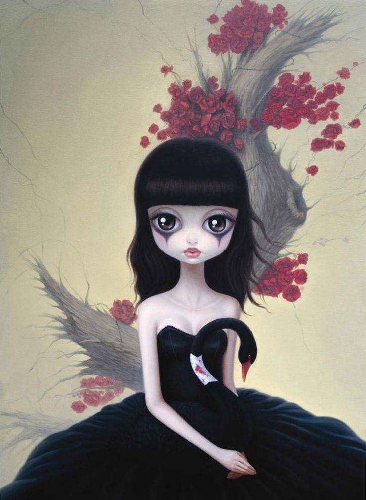 Chen Hongzhus  #art #surreal #blackswan