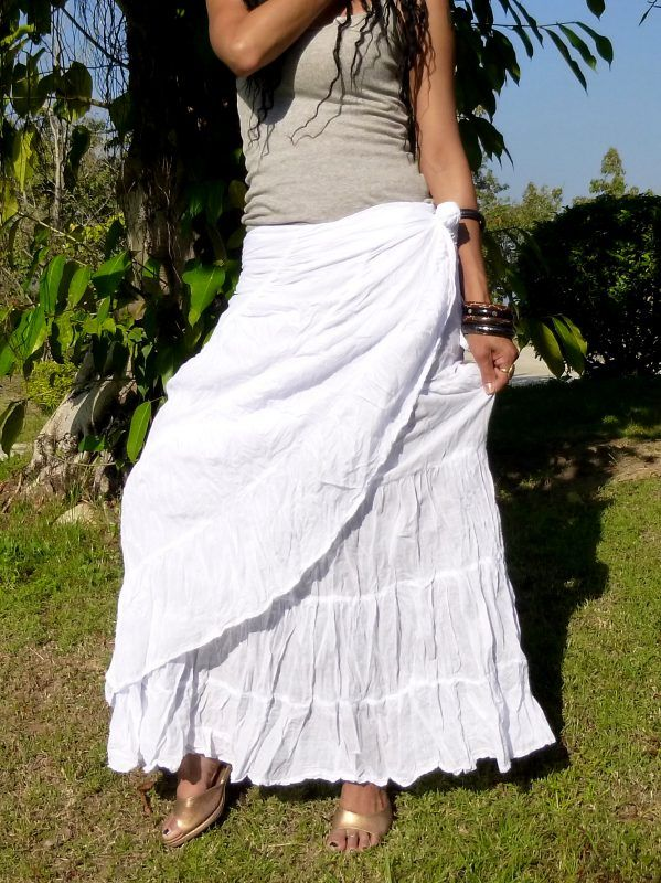 3e19e39aef1 Long Flamenco Skirt   Wrap Skirt   Handmade   100% Cotton   Free Shipping    SS-Long-White