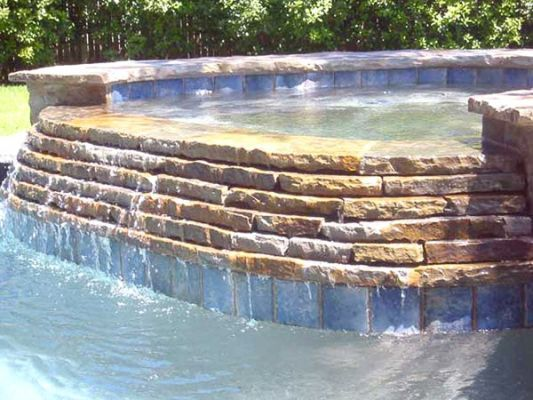 Gorgeous #WaterFeature, #Waterfall Off Side Of #HotTub ! @Texas Pools U0026