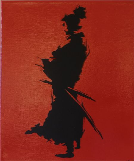 Miyamoto Musashi Stencil Art Spray Painted on Canvas Not a Print!