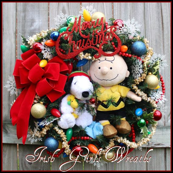 Peanuts Snoopy Woodstock & Charlie Brown Christmas Wreath, by IrishGirlsWreaths