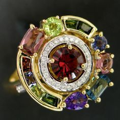 From the Bellari Collection, 18k Yellow Gold Multi-Gemstone Ring.
