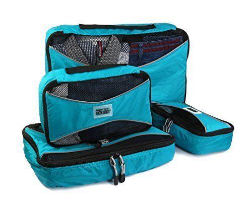 Lightweight Luggage Organizer 4-Piece Pro Packing Cubes Blue Nylon Travel Set #ProPackingCubes