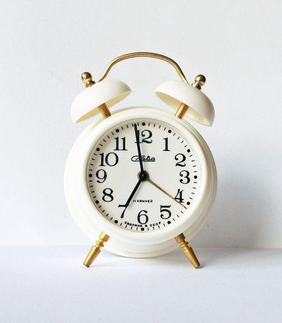 Vintage Russian mechanical alarm clock Slava door ClockworkUniverse
