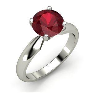 Diamantring / Diamantarmband / Diamantschmuck: Anillo de oro blanco 14K con rubi 2.10 Quilates