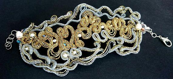 Gold silver soutache bracelet victorian soutache handmade